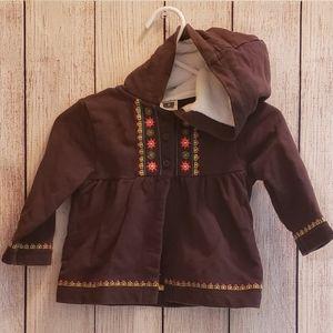 Brown floral hooded jacket 9m girl